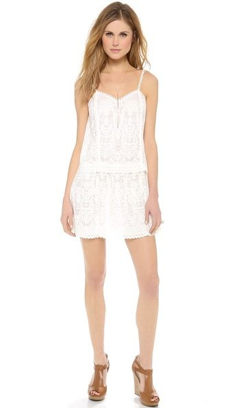Cynthia Vincent White Lace Sundress And A Mar Y Sol Tote
