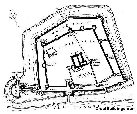 Tower of London stronghold floor plan by unknown artist c 1070-1090 ...