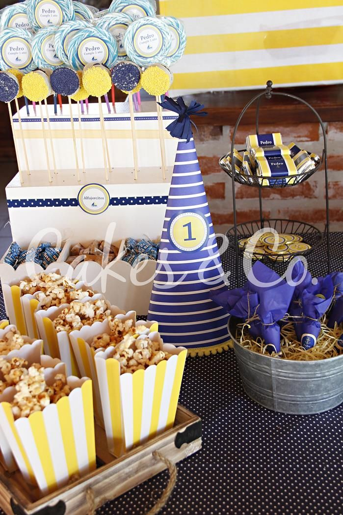 Yellow And Blue Nautical Birthday Party Ideas Supplies