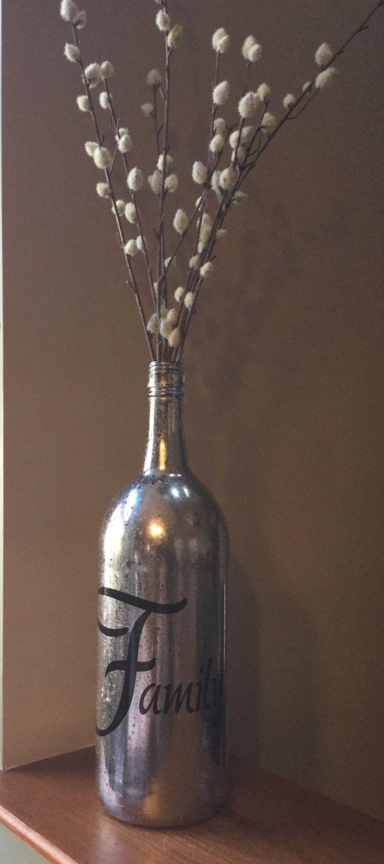Large wine bottle mercury glass effect bottle