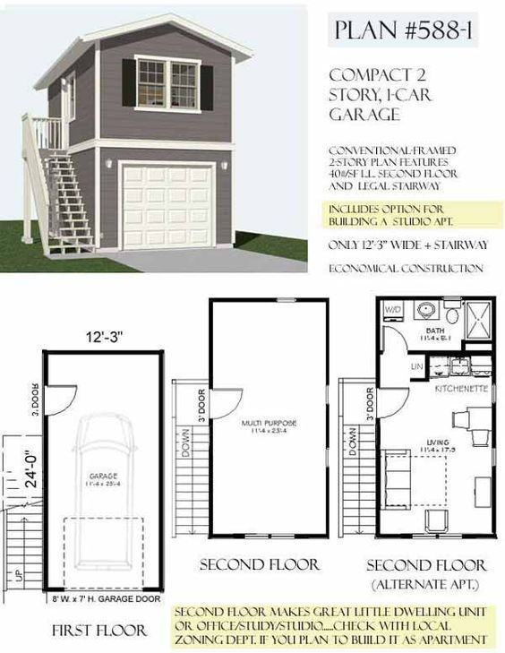 Carriage Lane Way House Art Studio And Vrbo On Top Floor Two Story 1 Car Garage Plans With Loft Garage Apartment Plans Garage Apartment Plan