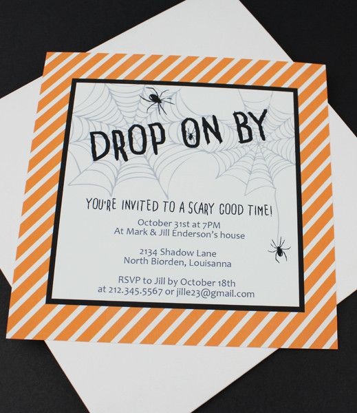 Halloween Invitation Template with Creepy Spider Web from - halloween invitation template