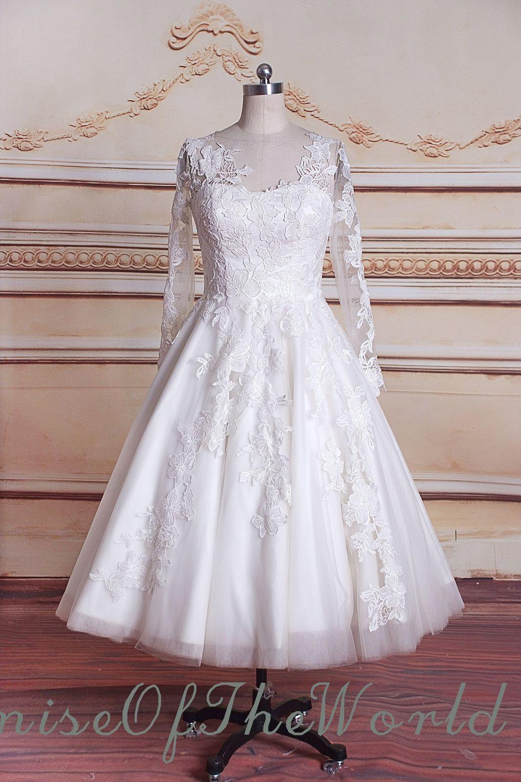 Long sleeve aline calflength lace wedding dress custom made short