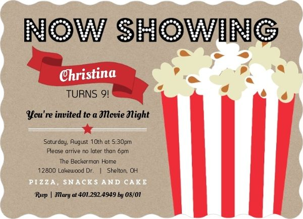 Movie night kids birthday party invitations ellies first movie night kids birthday party invitations stopboris Choice Image