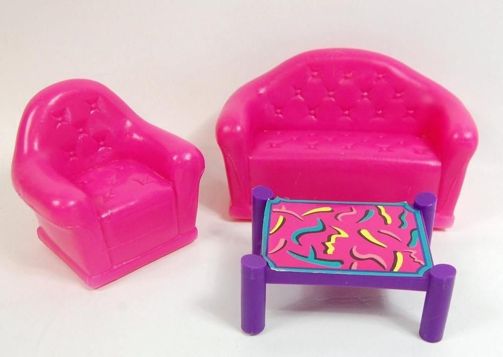 BARBIE LIVING ROOM FURNITURE SET SOFA, CHAIR AND COFFEE TABLE 3 ...