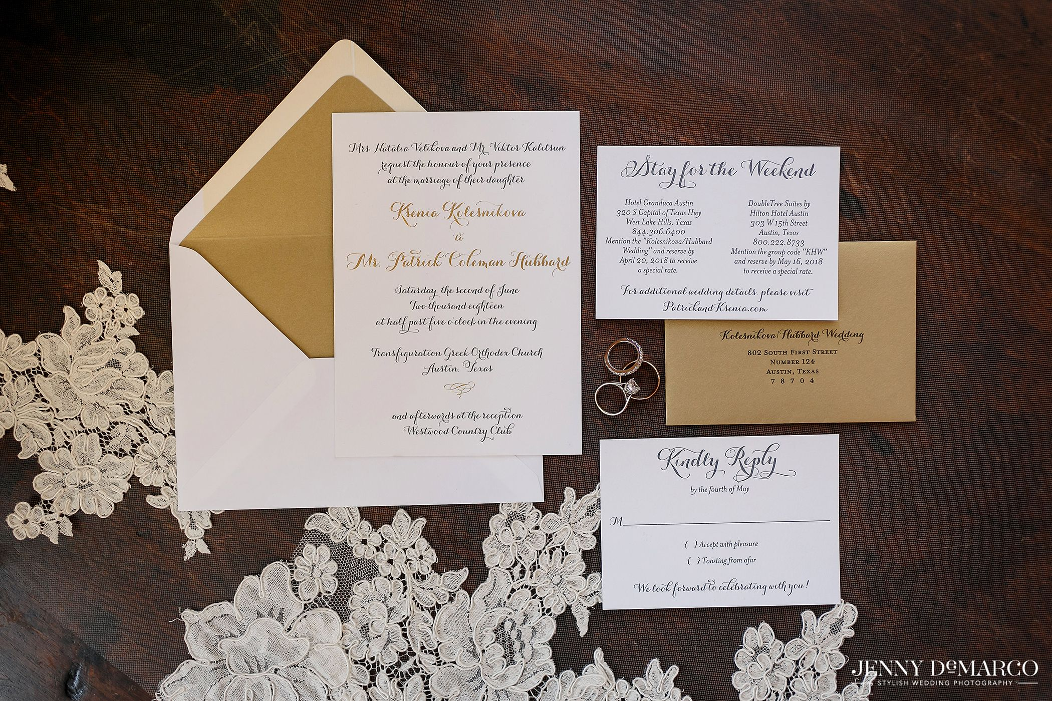 Gold Foil And Letterpress Printed Invitation Suite By The Inviting