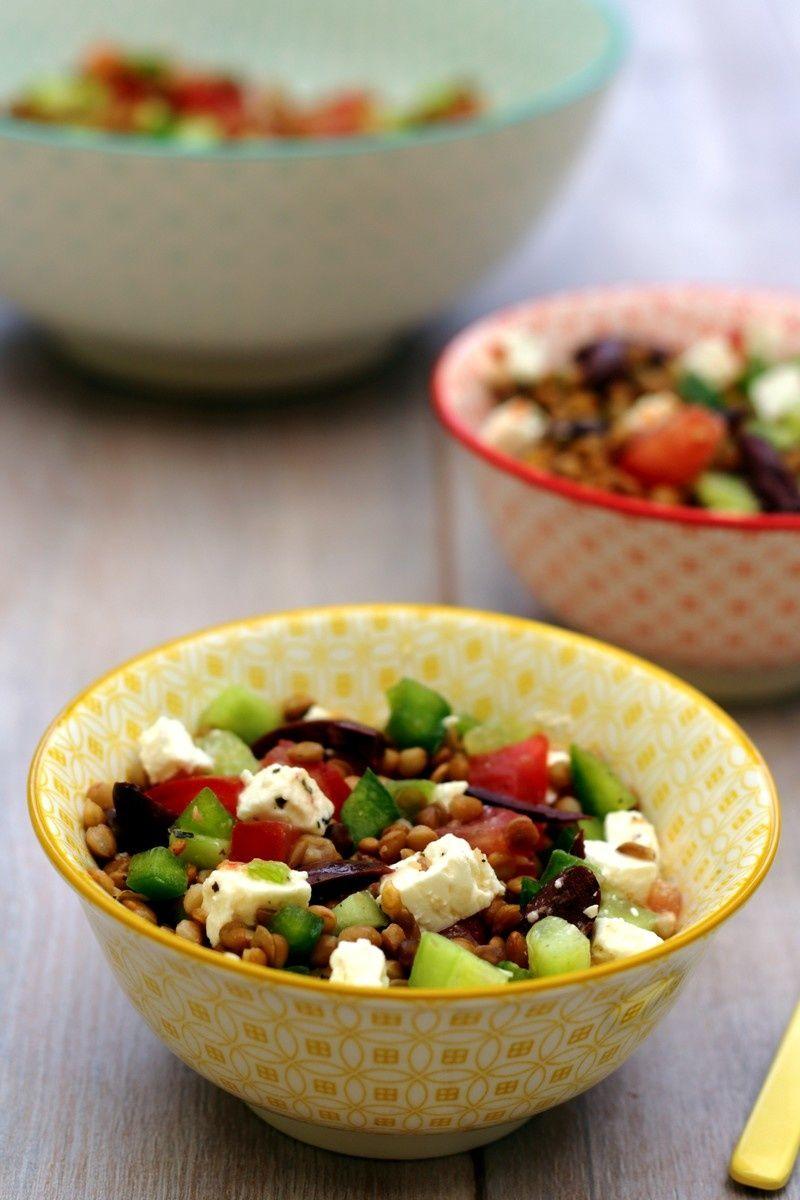 Salade de lentilles à la grecque | Salade de lentilles ...