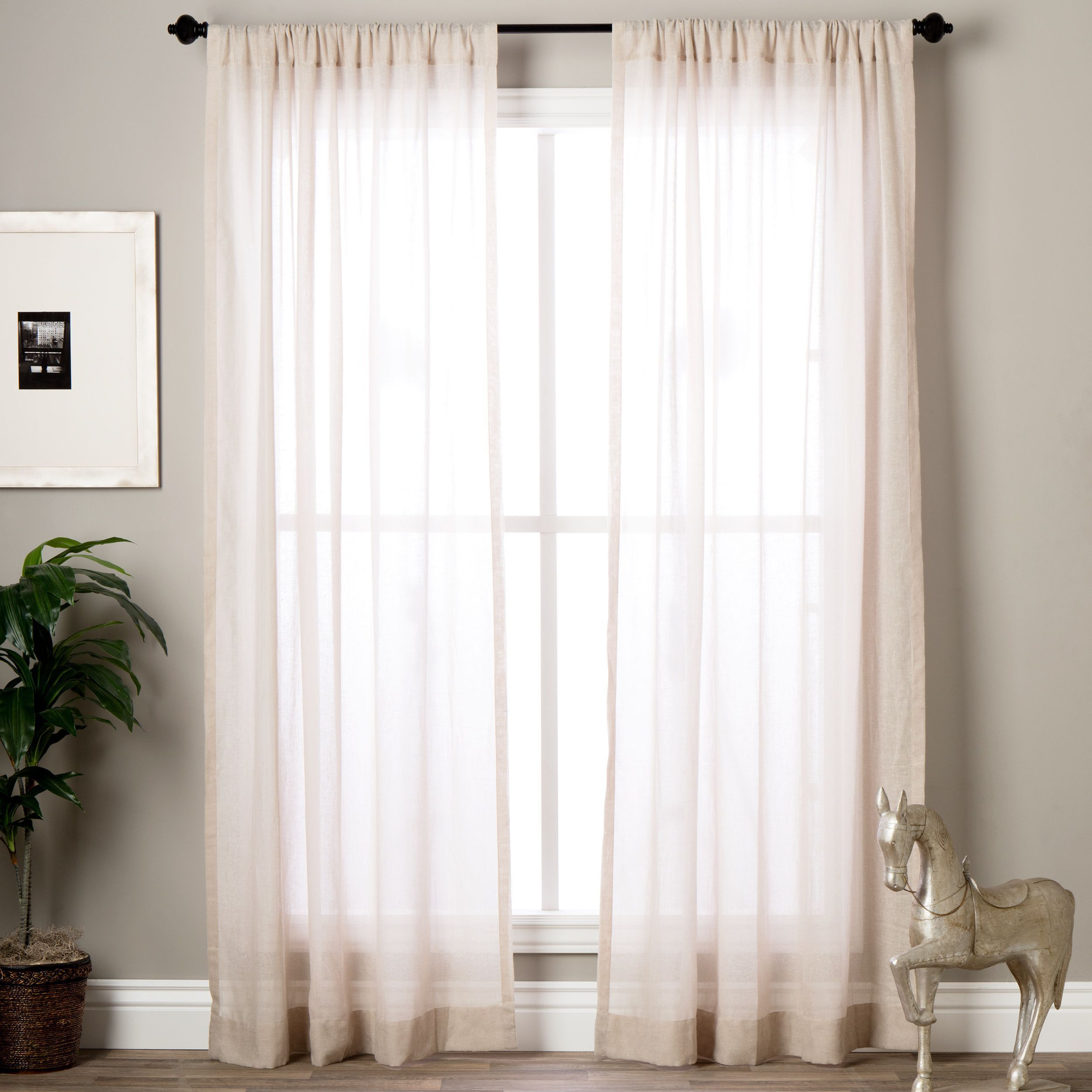 Exclusive Fabrics Tumbleweed Faux Linen Sheer Curtain Panel 96 Inch Brown Size 50 X 96 Sheer Linen Curtains Sheer Curtain Panels Curtains
