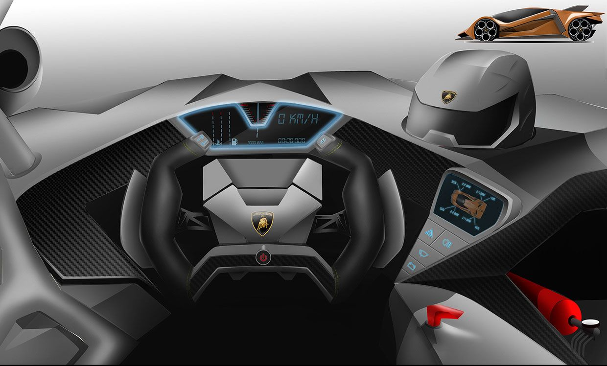 Very Futuristic Interior Styling Inside The Lamborghini Estampida