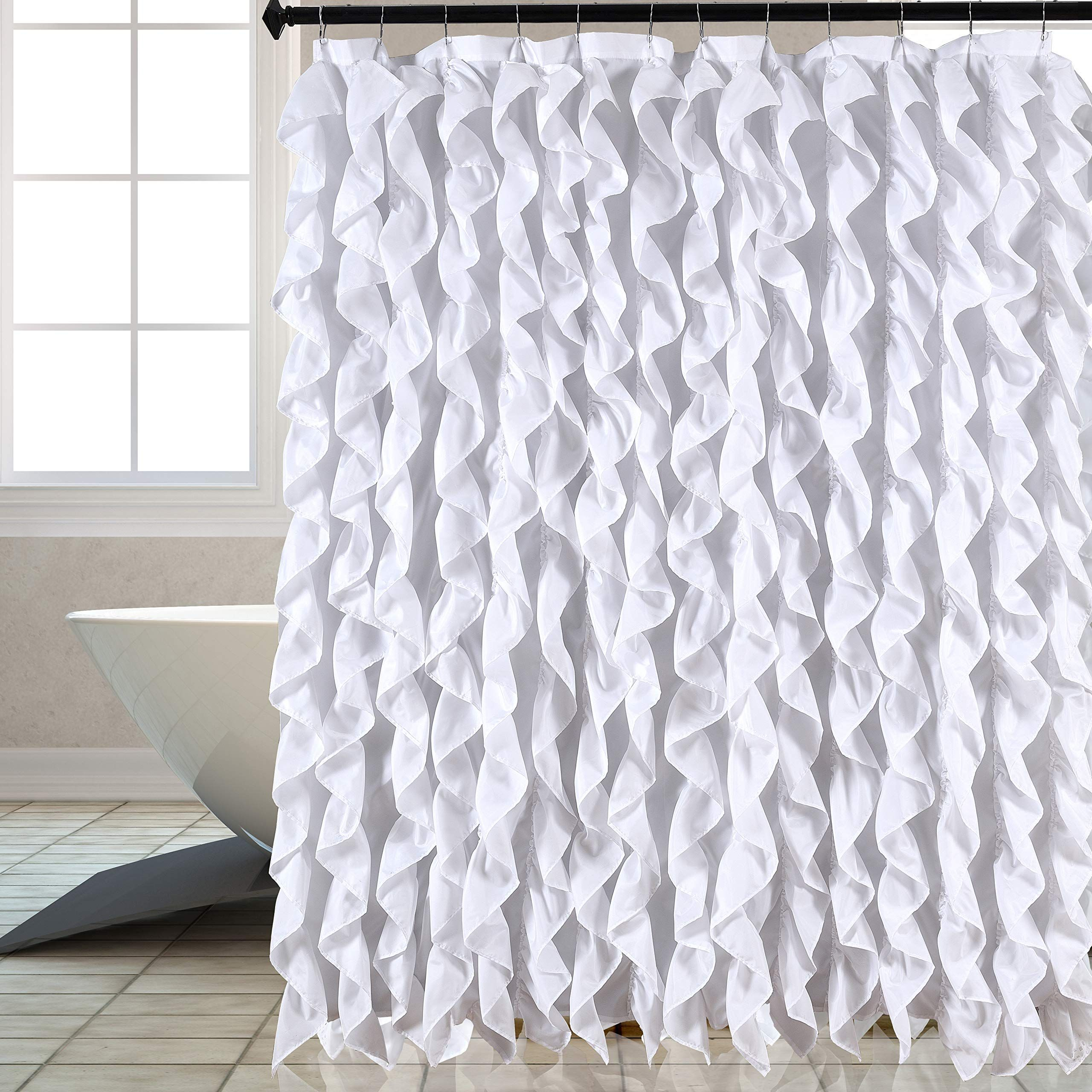 Waterfall Shabby Chic Ruffled Fabric Shower Curtain White Click Image To Revi White Ruffle Shower Curtain Ruffle Shower Curtains Shabby Chic Shower Curtain