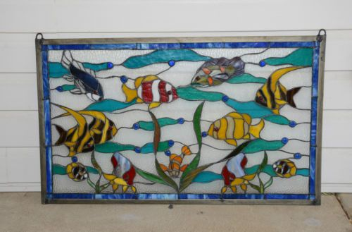 Large Tiffany Style Stained Glass Window Panel Tropical Fish Under The Sea | eBay