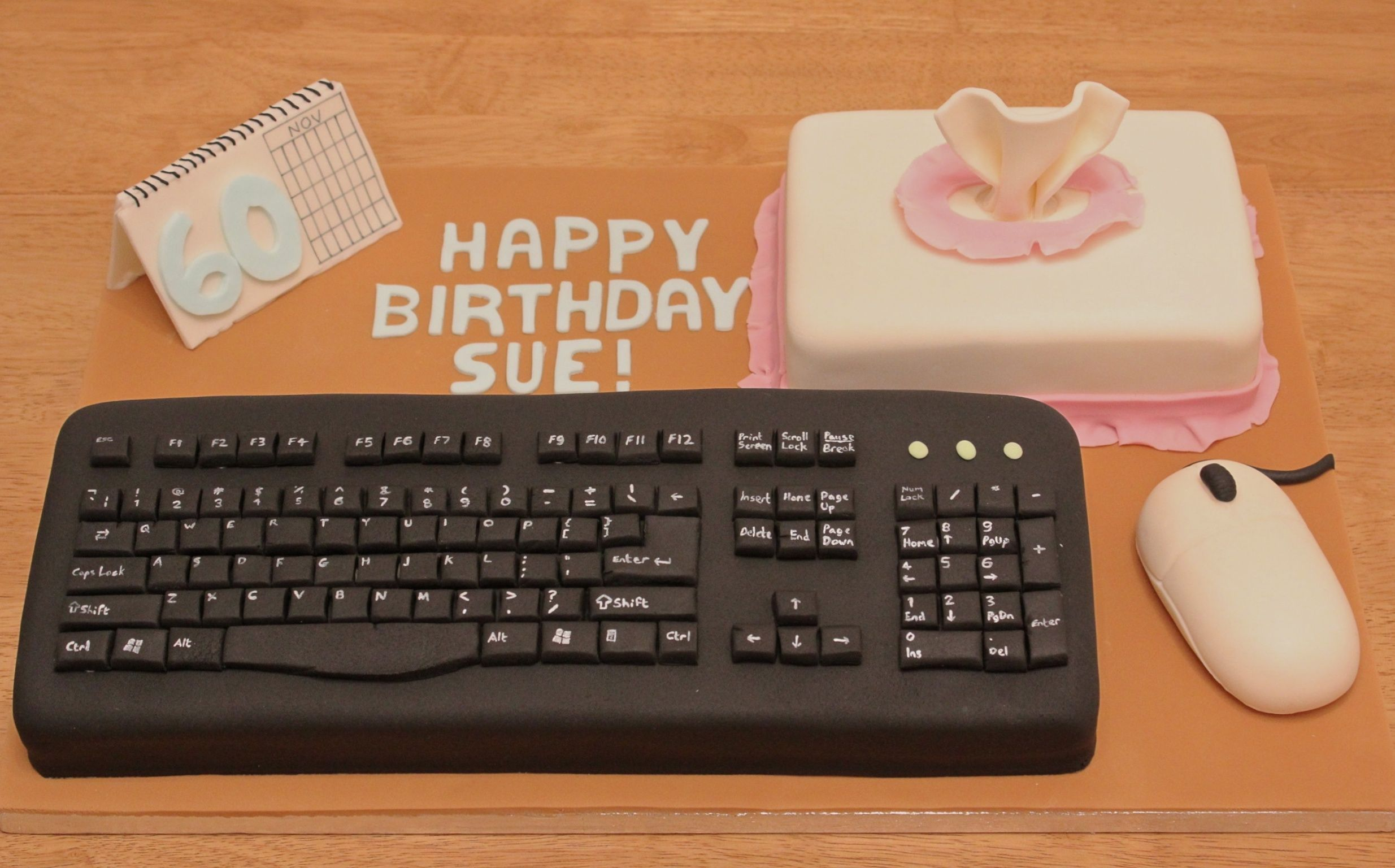 A computer keyboard cake for a typist colleague.