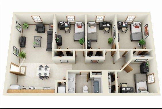 Simple 4 Bedroom House Designs House Layouts 4 Bedroom Living Room Layout Living Room In 2020 Apartment Floor Plans 4 Bedroom House Designs Apartment Floor Plan