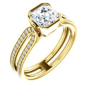 Cubic Zirconia Engagement Ring- The Mariela (Customizable Cathedral-Bezel Asscher Cut Style with Wide Straight Split-Pavé Band)