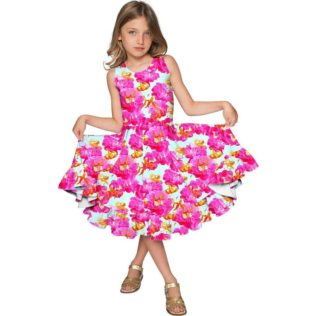 Sweet illusion vizcaya fit u flare pink floral party dress girls