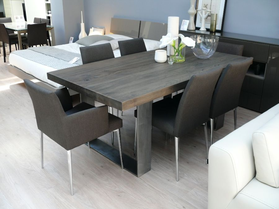 Superbe Modena Solid Wood Dining Table Grey Dining Room Furniture, Fabric Dining  Room Chairs, Metal