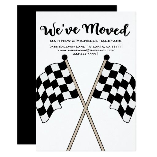 Checkered Flag Auto Racer Racing Weve Moved Card Personalize this beautiful custom designed We've Moved announcement. This flat card features checkered flags with white text and a black background. Great for car or motorcycle race fans, race team. mechanic or drivers. #wedding #racing #racecar