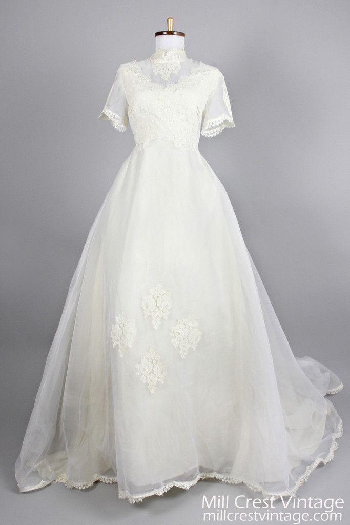 1960 Lace Appliqué Chiffon Vintage Wedding Gown , Vintage Wedding ...