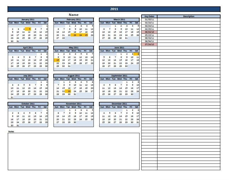 Calendar with Key Dates Project Management Templates Pinterest - management calendar template