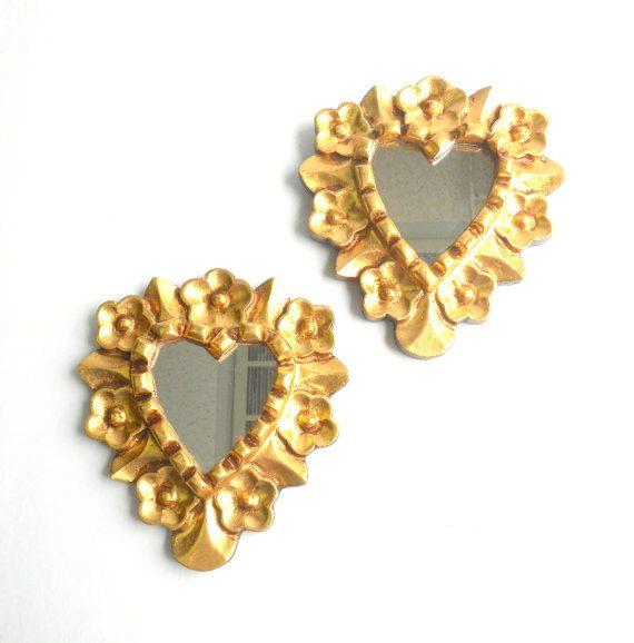 6.5 H, Wall Mirrors, Heart Mirrors, Small Decorative Mirrors, Gold ...