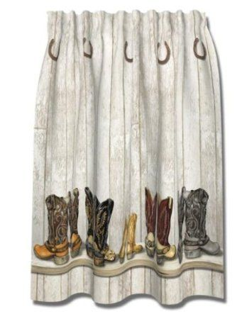 Amazon.com - WESTERN cowboy BOOTS Saddle UP SHOWER CURTAIN bath NEW ...