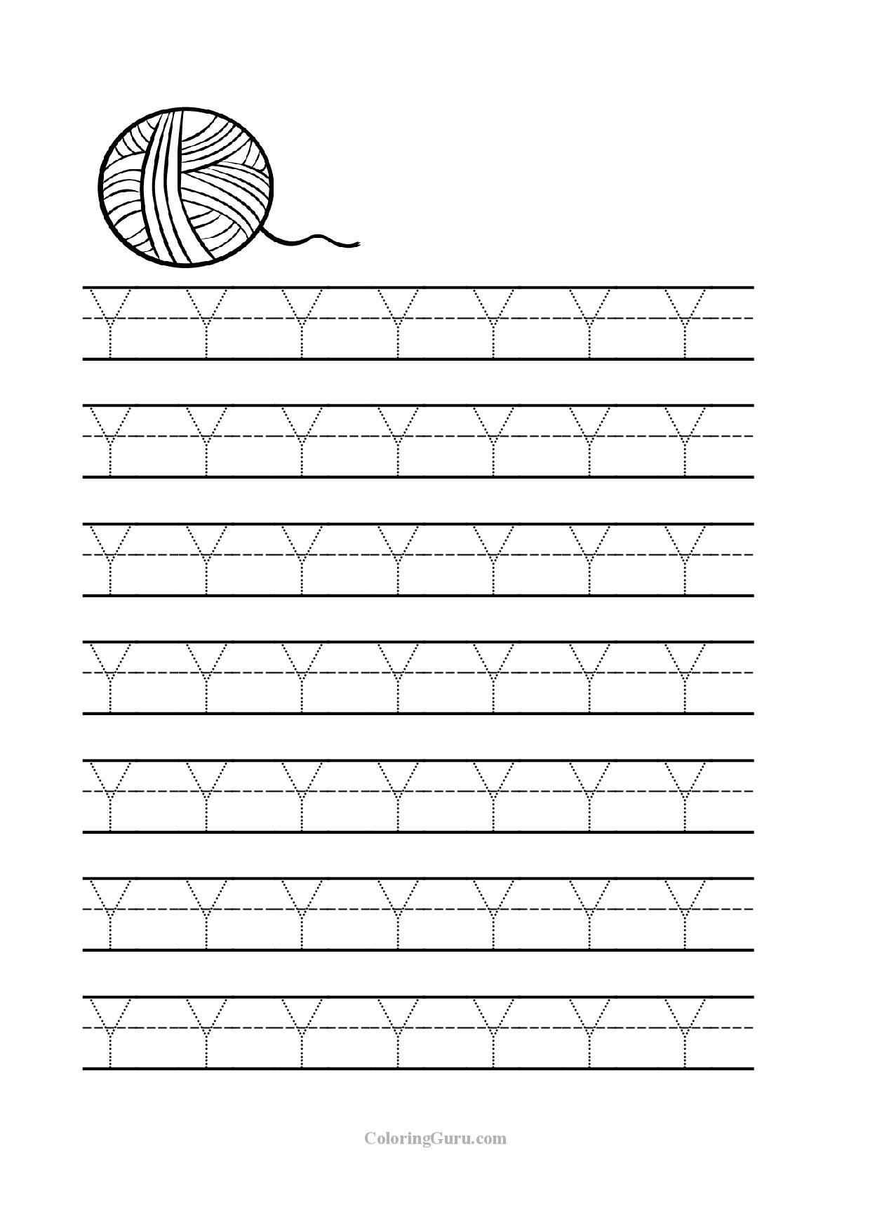 Free Printable Tracing Letter Y Worksheets For Preschool Prescolaire [ 1754 x 1240 Pixel ]