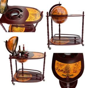 Antique World Globe Bar Stand Liquor Shelf Drink Cup Bottle Trolley + Table  For Home Office