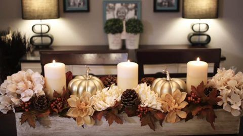 she makes this exquisite fall centerpiece with dollar store items and it 39 s stunning holiday. Black Bedroom Furniture Sets. Home Design Ideas