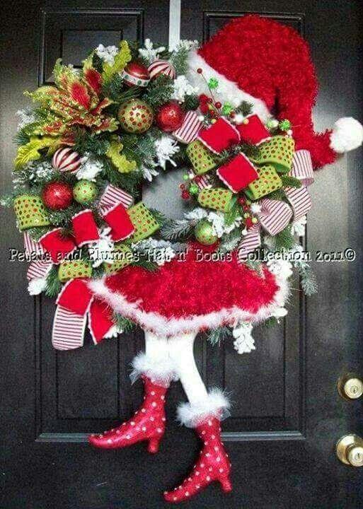 Arreglo navide o para puerta coronas y adornos de for Arreglos navidenos para puertas 2016