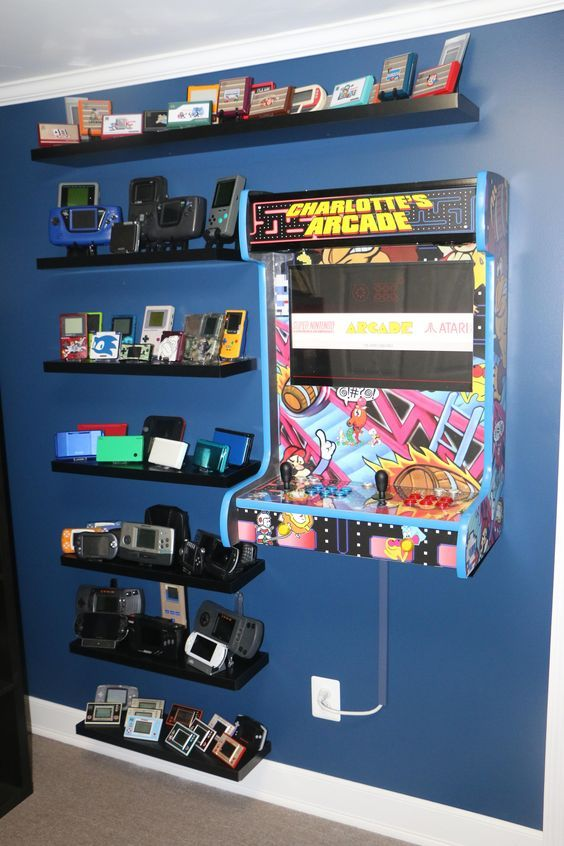 Retro Gaming Wall Handheld Collection Shelves And Wall Mounted Arcade Cabinet Via Reddit User Joeyblaze Retro Games Room Video Game Rooms Arcade Room