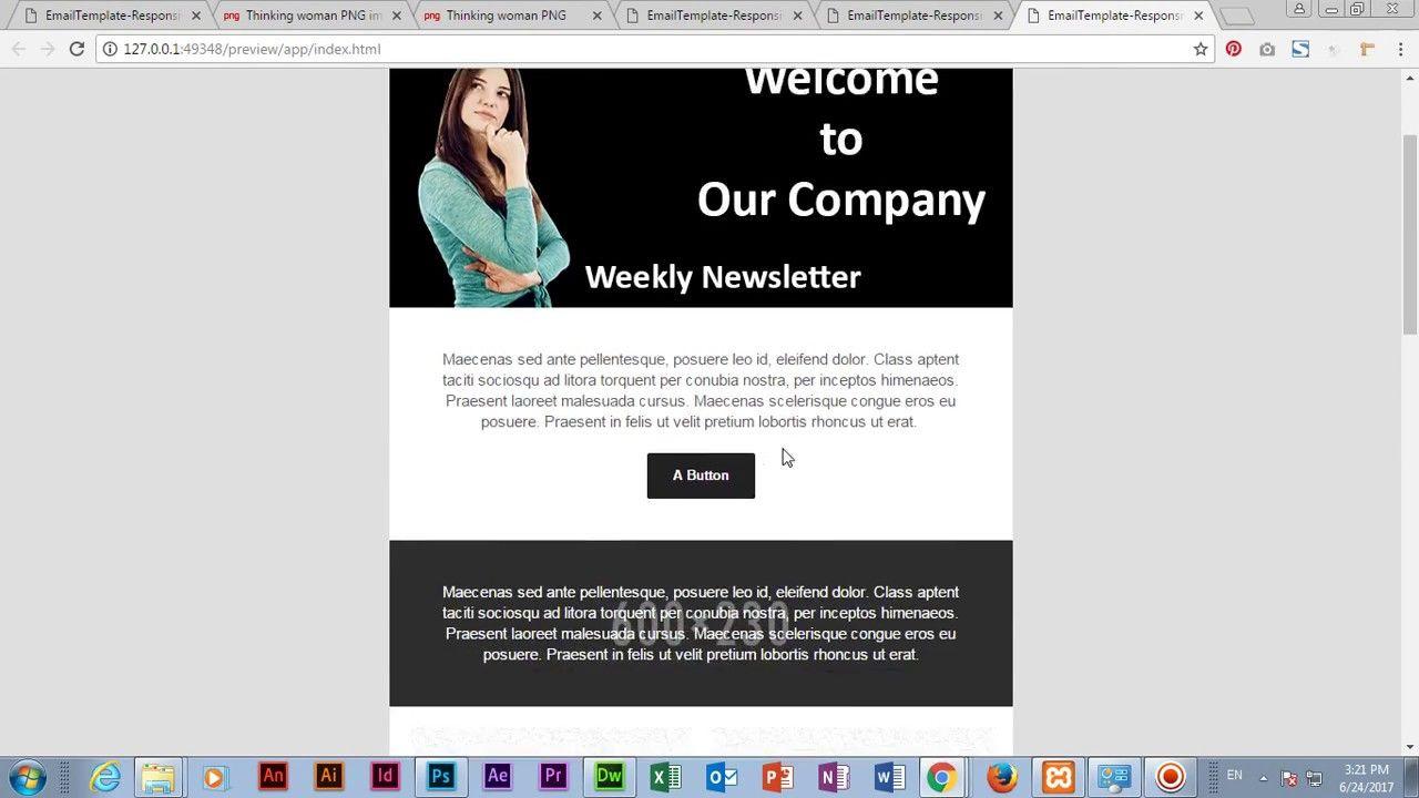 Create Email Template In Adobe Dreamweaver Cc 2017 Create Email Template Create Email Email Templates