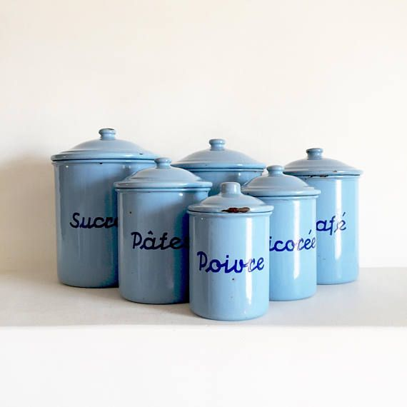 French Vintage Enamel Canisters French Kitchen Canisters