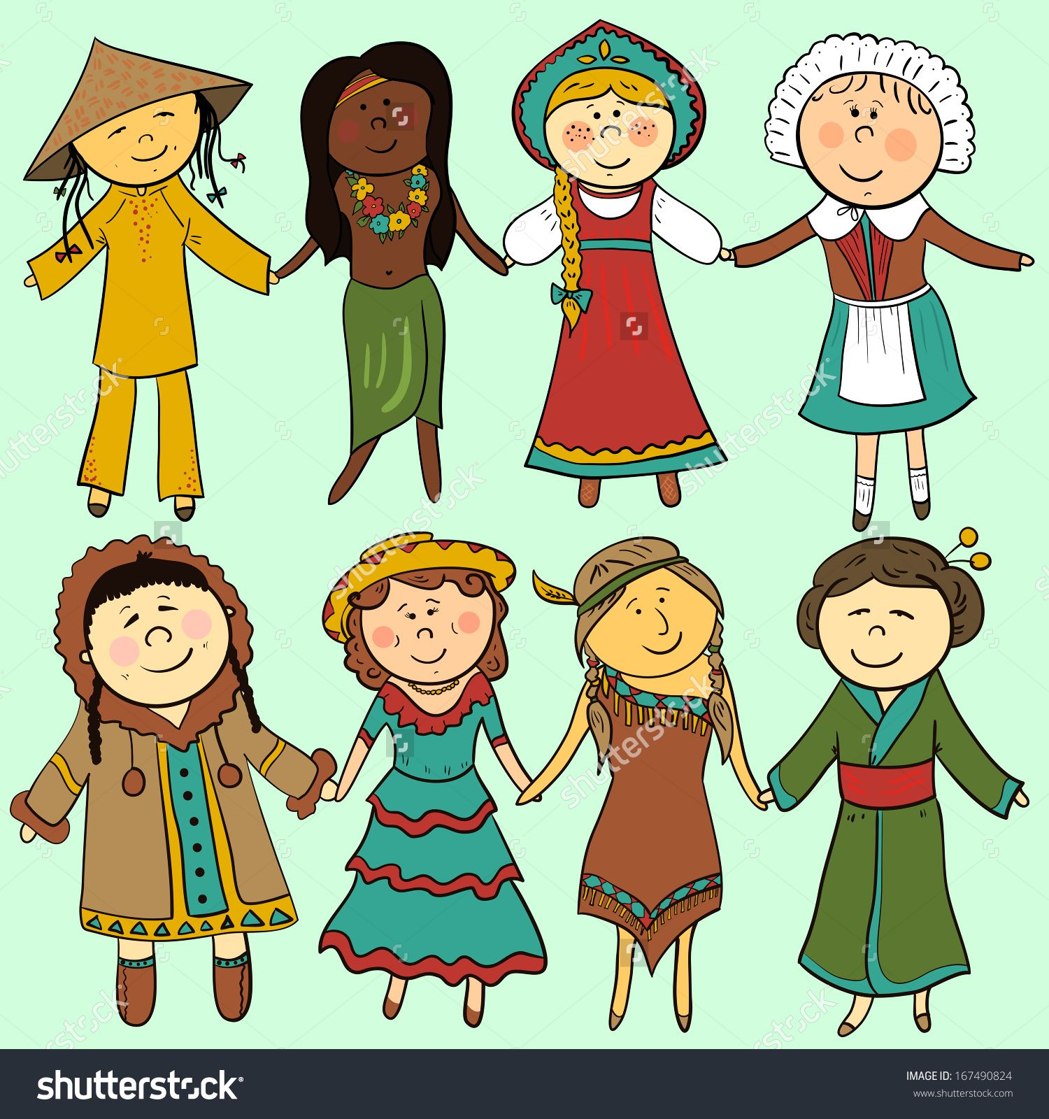 Cartoon children in different traditional costumes, vector set ...