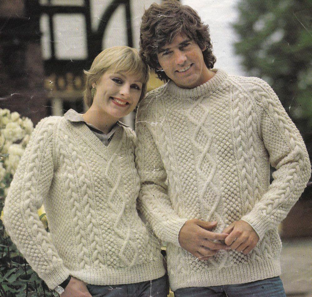 Vintage Knitting Pattern Instructions to Make a Ladies/Mens Aran ...