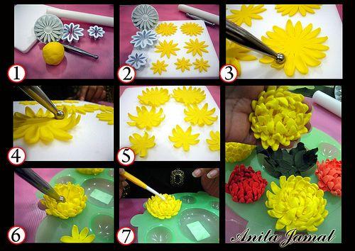 Chrysanthemum S Tutorial Fondant Flower Tutorial Sugar Flowers Tutorial Fondant Flowers