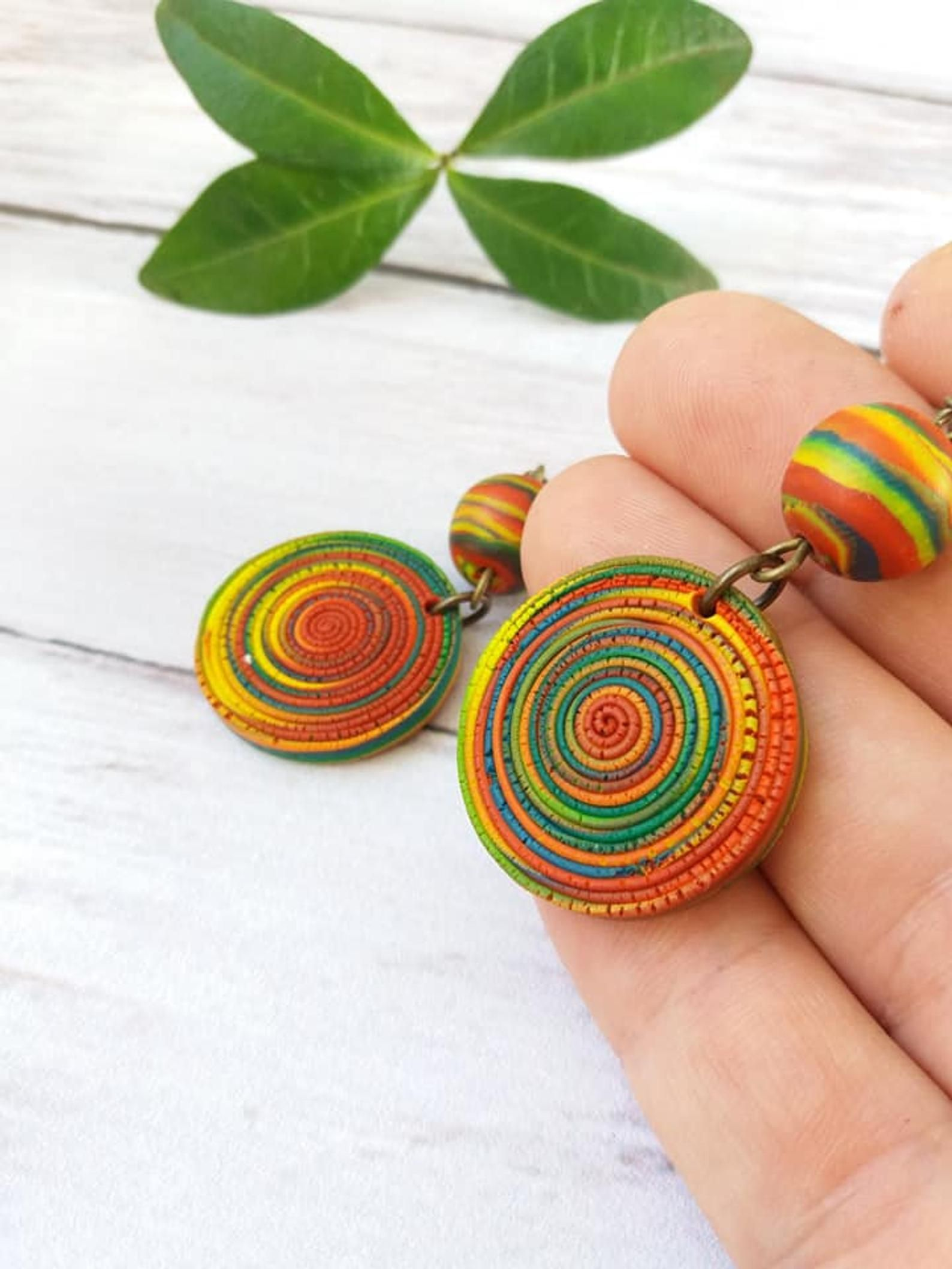 Selection of 4 unique ceramic pendants round big 60 mm pendant hand painted large handmade clay pendant for jewelry necklace pendant
