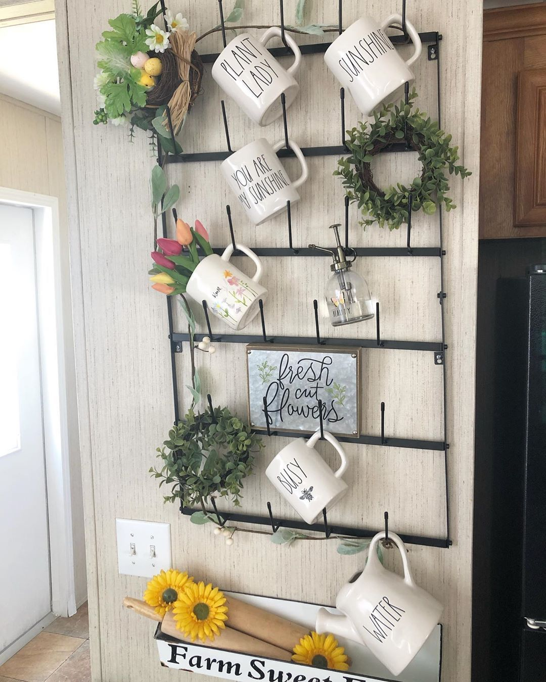 "Nicole � on Instagram: ""Happy Tuesday y'all I redecorated my mug rack today. Wanted to go simple and a lot of greenery and spring vibes hope y'all like it! I also…"""