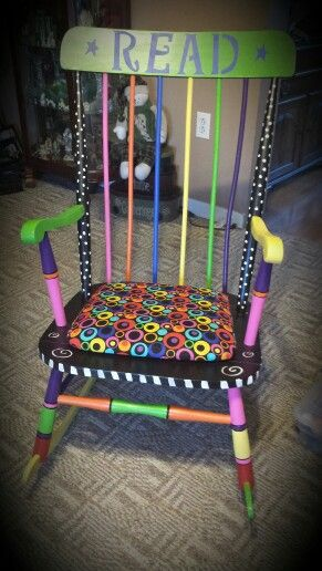 A Whimsical Chair My Son Painted/redone For His Girlfriendu0027s Classroom.