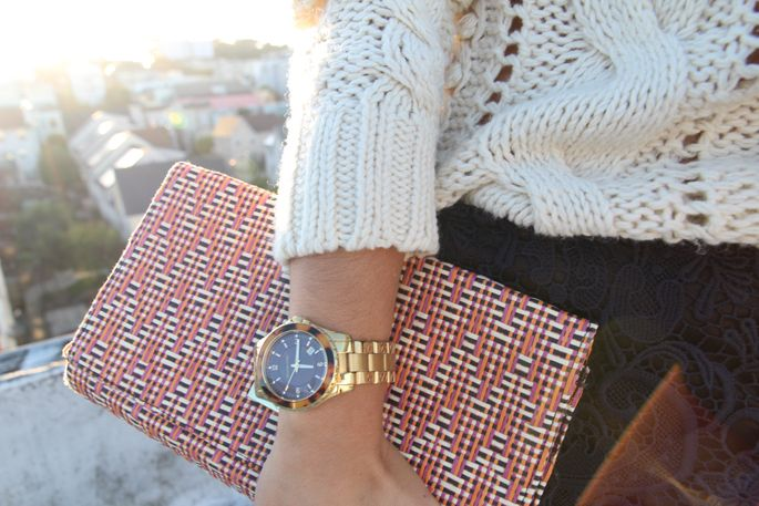 holiday textures & colors -- cable knit, lace, gold watch...
