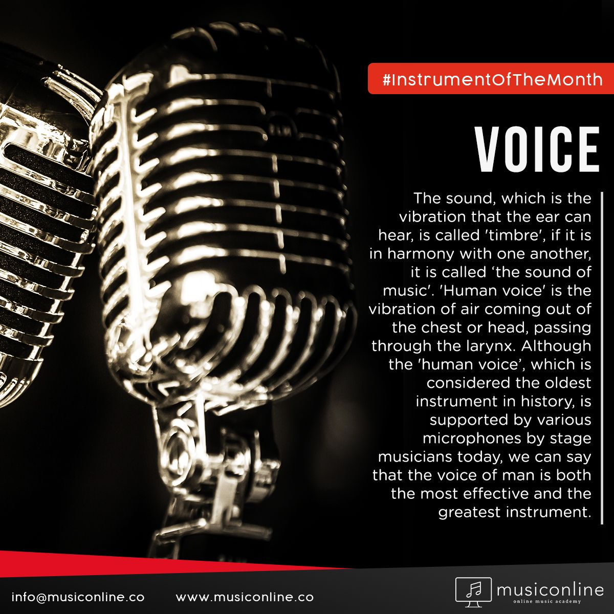 We continue our posts of The Instrument of The Month with 'The Voice', which is considered to be the oldest instrument in history. . . . #musiconline #instrumentOfTheMonth #AllAbout #Voices #instruments #instrumentalmusic #VocalLessons #MusicIsLove #MusicIsLife #MusiciansLife #LearnMusic #MusicLessons #OnlineMusic #musicAcademy #OnlineMusic #FridayMusic #itsFriday #music #online