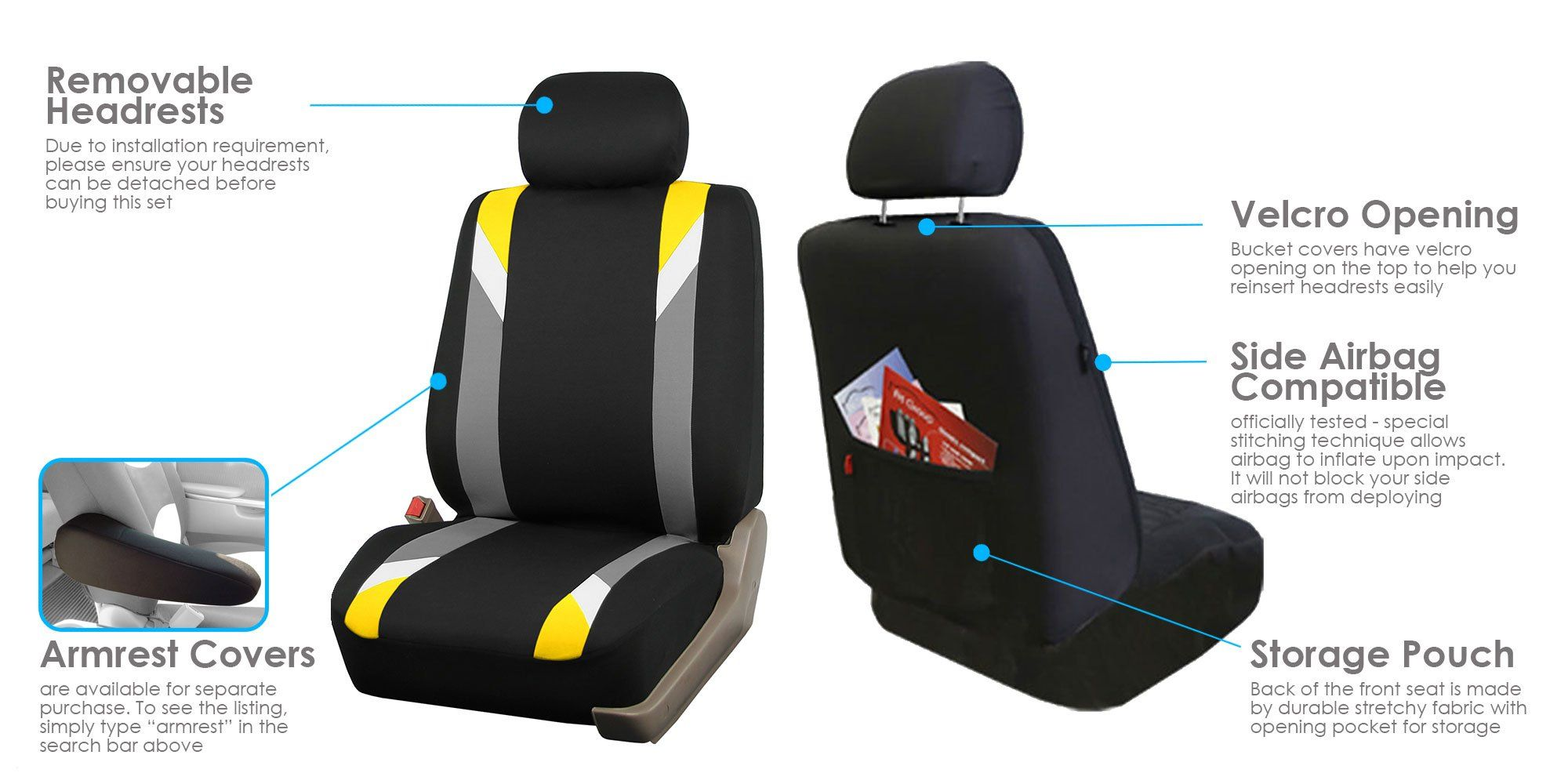 2 x Fronts Jeep Compass Heavy Duty Black Waterproof Car Seat Covers 2013-