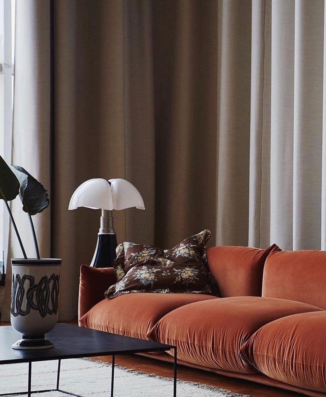 Stunning Burnt Orange Velvet Sofa Look As Those Plump Cushions Mattersofthehome Melaniemorrisinteriors Velve Trending Decor Home Decor Trends Living Decor