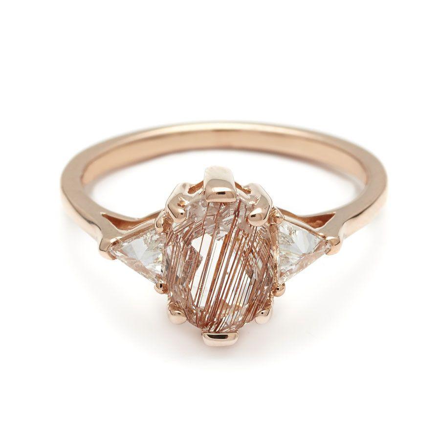 Oval Bea Ring  Rose Gold & Copper Rutilated Quartz (8x6mm)