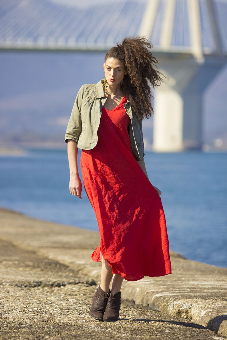 The red dress, with ankle boots and military colour jacket