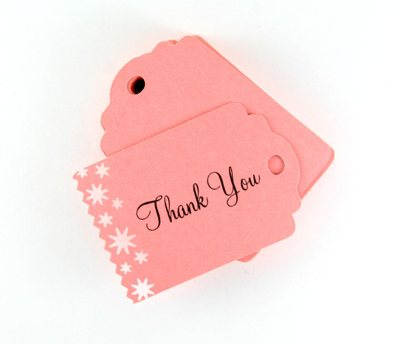 Salmon Pink Thank You Tags Set of 25, Favor Tags, Star Wedding Tags ...