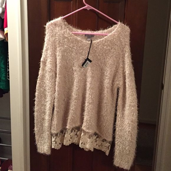Olivia Sky Cream Sweater Very nice fuzzy cream color long sleeve sweater. Lace bottom looks great paired with jeans! Olivia Sky Sweaters