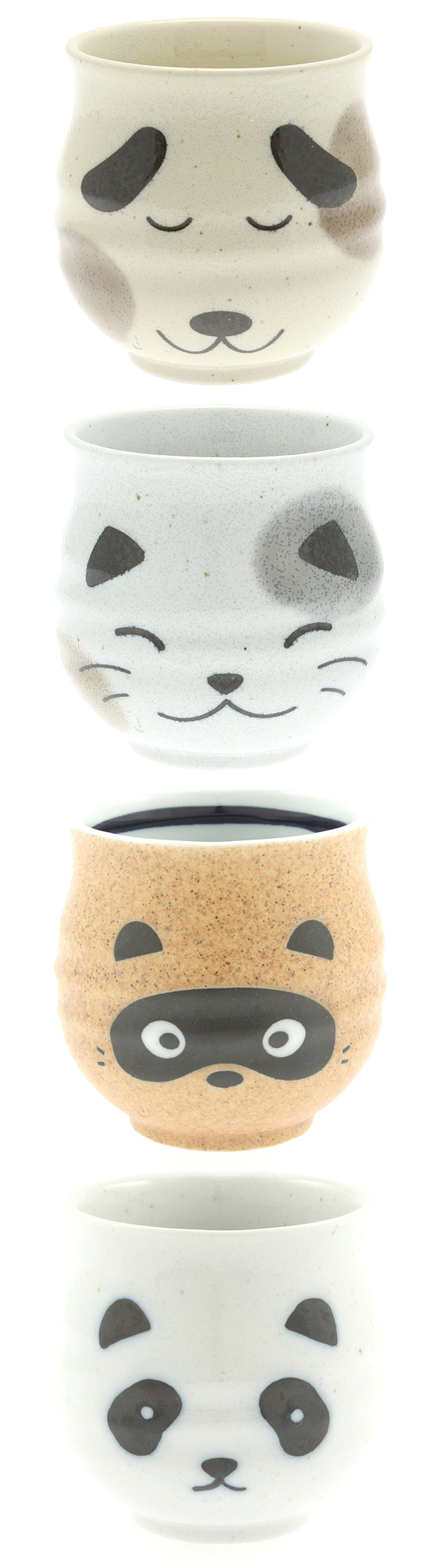 Cute dog, cat, badger and panda animal teacup set - perfect for drinking green tea with roasted rice #product_design
