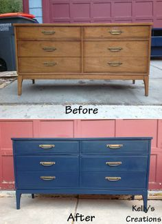 Mid Century Modern Dresser Painted Dark Blue With Br Hardware Before And