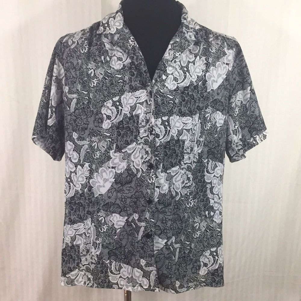 1708582ac52b4 Donnkenny Blouse Top Sz 2XL Black and White Floral Print Button Front   Donnkenny  ButtonDownShirt  Career