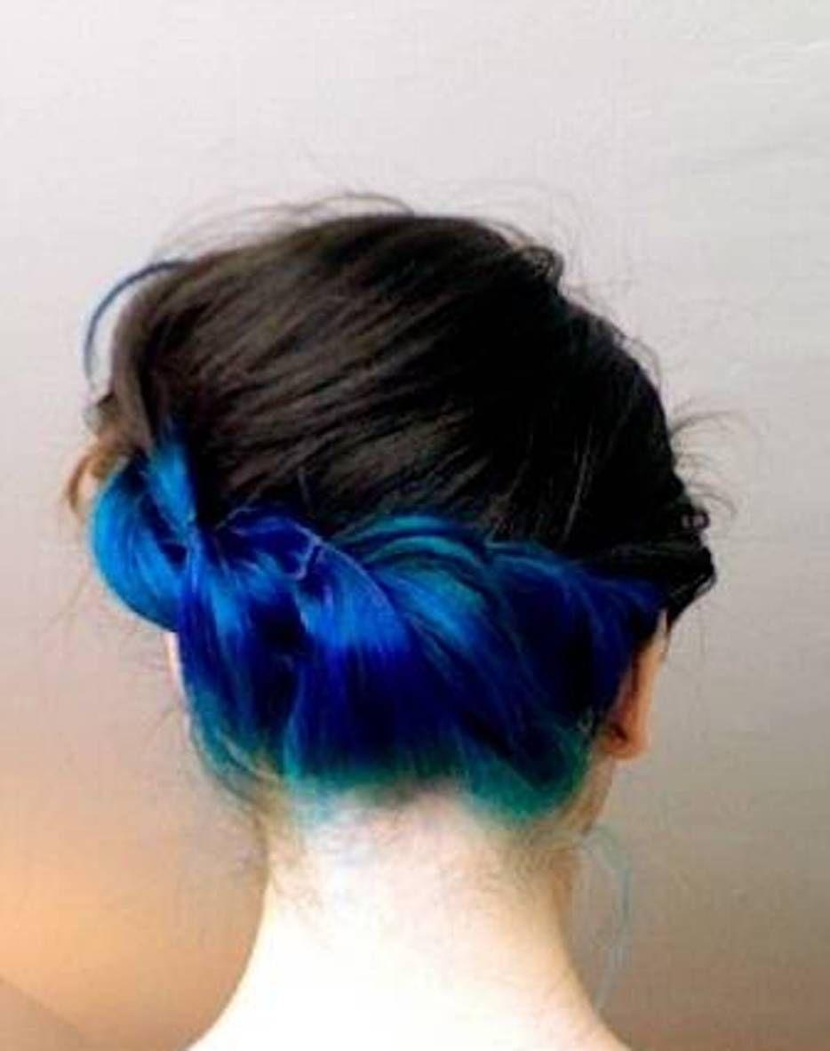 Blue under lights hair - Google Search | Hair | Pinterest | Blue black hair dye Black hair dye ...